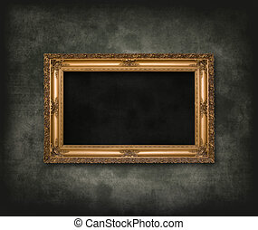 Antique carved frame - An empty dark dungeon wall....