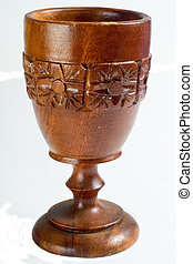 Antique Carved Wooden Goblet - An antique, carved wooden...