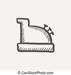 Antique cash register sketch icon