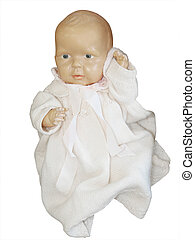 Antique Celluloid Doll isolated with clipping path.
