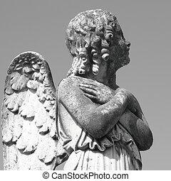 antique cemetery angel figure - on italian monumental...