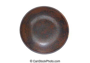 Antique ceramic bowl isolated on white background (Top view)