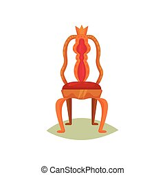 Antique chair with red velvet trim and crown. Golden throne of king. Luxury royal furniture. Museum item. Flat vector design