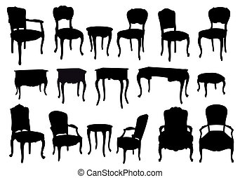 antique chairs and tables, vector - chairs and tables, ...