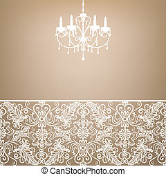 antique chandelier light in the room with vintage wallpaper