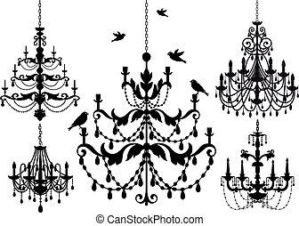 antique chandelier set, vector background illustration