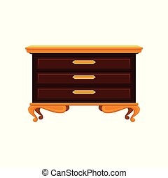 Antique chest of drawers with golden legs, handles and top surface. Old wooden commode. Vintage furniture. Flat vector design