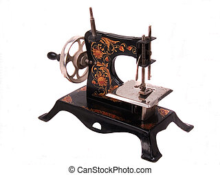 Highly decorated black all steel antique child's crank toy sewing machine