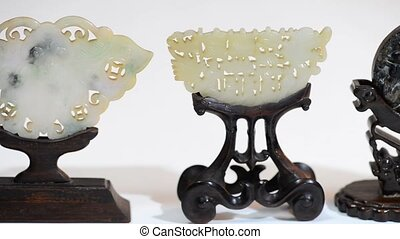 Antique Chinese jade. - Chinese jade items made from the...