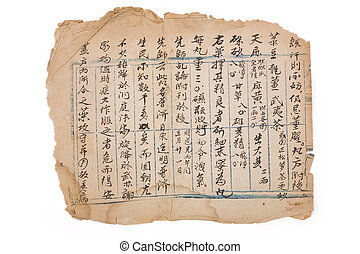 antique chinese prescription - brown antique chinese...