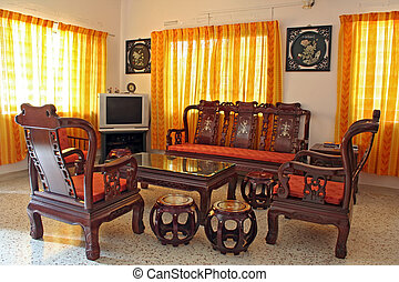 Antique Chinese Rosewood Furniture - Living room furnished ...