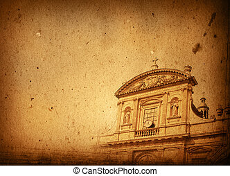 antique church building in Europe - with space for text or image
