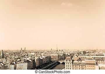 antique city view in paris