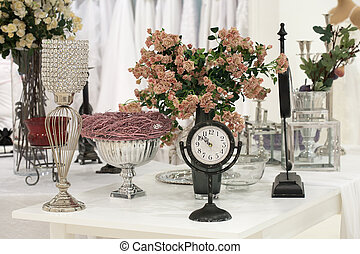 Antique clock and roses
