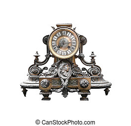 Antique clock - Antique bronze clock isolated on white...