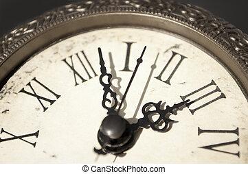 Antique clock closeup