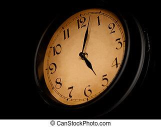 Antique clock dial on dark background