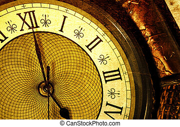 Antique clock - Extreme close up of an antique clock