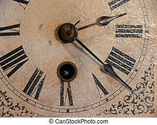 Antique clock face - Macro of an antique clock face with a...
