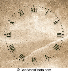 Antique clock face on the abstract background