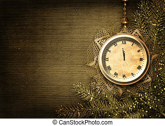 Antique clock face with lace and firtree on the abstract background