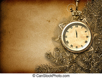Antique clock face with lace and firtree on the abstract...