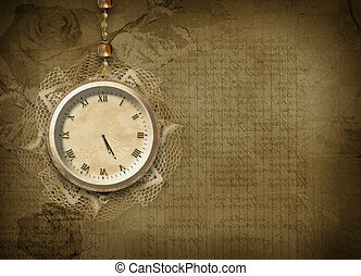 Antique clock face with lace on the abstract background