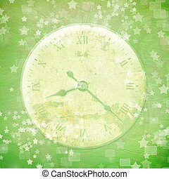 Antique clock face with star on the abstract background
