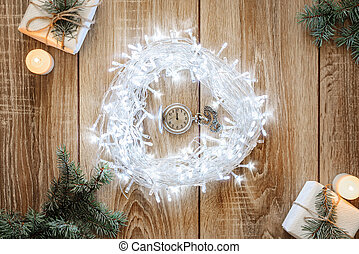 Antique clock five minutes to midnight - Christmas Concept...