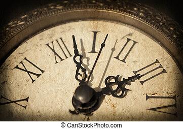 Antique clock on grunge background