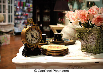 antique clock on the table