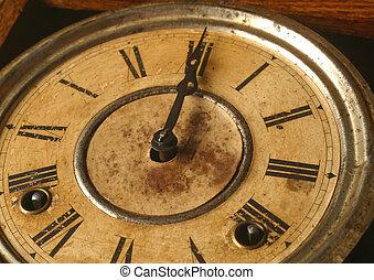 antique clock - An antique clock at twelve o'clock.