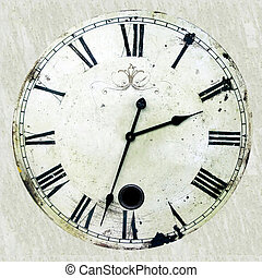 Antique clock - Very old and rusty antique clock with roman...