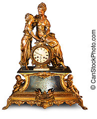 Antique clock with figurines of cupids and women isolated on...