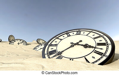 Antique Clocks In Desert Sand - An array of half buried...