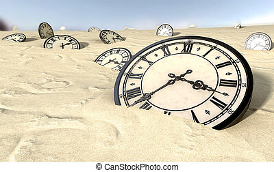 Antique Clocks In Desert Sand