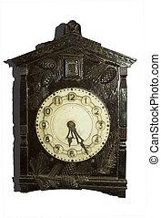 Antique clocks in wooden case.