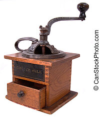 Antique coffee grinder, with opened bean bin at top and opened ground coffee drawer at bottom.
