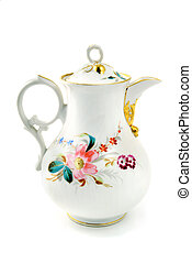 antique coffee pot made porcelain in biedermeier times.