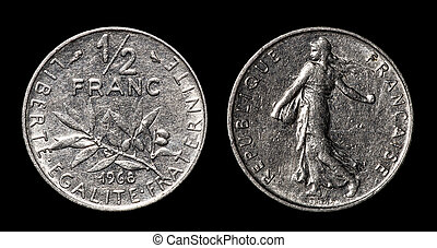 Antique coin of 1/2 franc