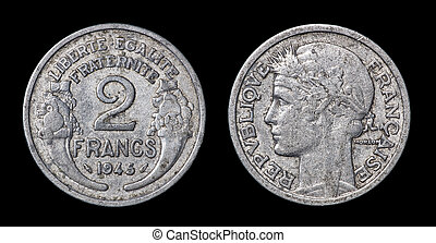 Antique coin of 2 francs