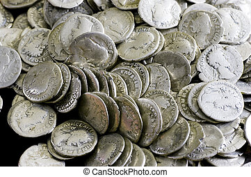 Antique coins are made of silver. Means of payment of past centuries
