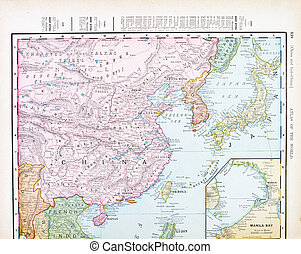 Antique Color English Map of China, Korea, Japan - Map of...