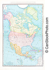Antique Color Map North America Canada Mexico, USA - Vintage...