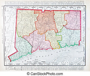 Antique Color Map of Connecticut, United States