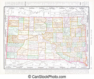 Antique Color Map South Dakota, United States, USA - Vintage...
