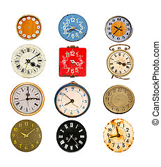 antique colorful clock dial collection on white