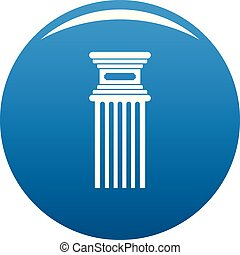 Antique column icon blue vector