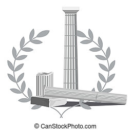 Antique Column Ruins - Antique Greek column ruins with olive...