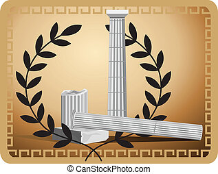 Antique Column Ruins - Illustration with antique column...